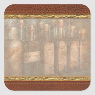 Farmacia - selección del jarabe pegatina cuadradas
