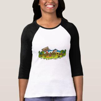 Farmaholic Logo Ladies 3/4 Sleeve Raglan (Fitted) Tee Shirts