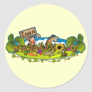 Farmaholic Logo Round Stickers