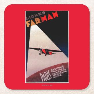 Farman Airlines Farman 300 Monoplane Promo Poste Square Paper Coaster