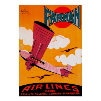 Farman Brothers Airlines F-170 Monoplane Poster