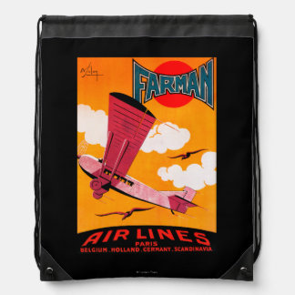 Farman Brothers Airlines F-170 Monoplane Poster Drawstring Backpack