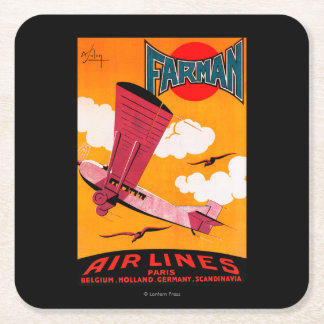 Farman Brothers Airlines F-170 Monoplane Poster Square Paper Coaster