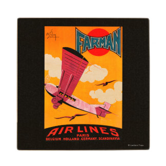 Farman Brothers Airlines F-170 Monoplane Poster Wooden Coaster