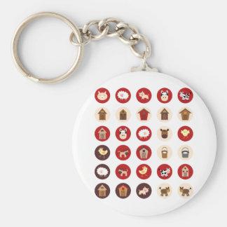 FarmAnimal8 Basic Round Button Keychain