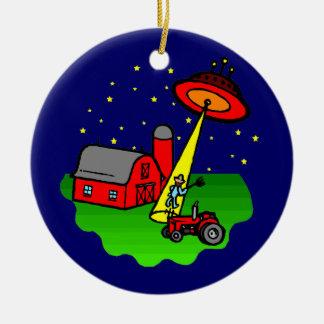 Farmer Alien Abduction Christmas Ornament
