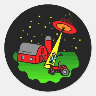 Farmer Alien Abduction Round Sticker