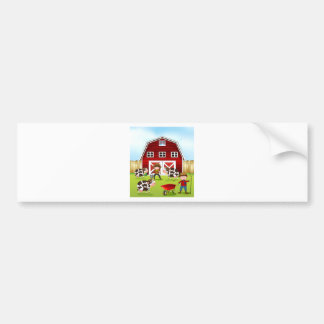 Farmer and barn bumper sticker