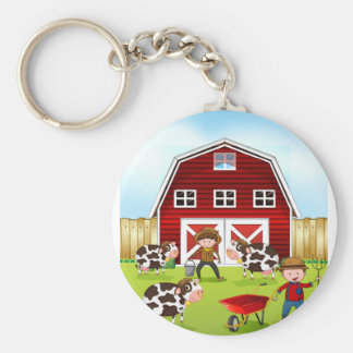 Farmer and barn keychain