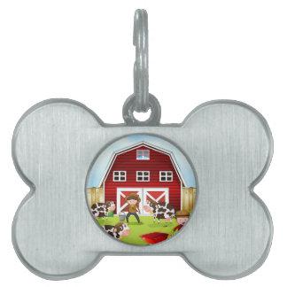 Farmer and barn pet tag