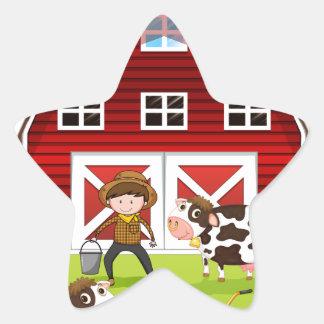 Farmer and barn star sticker