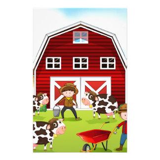 Farmer and barn stationery