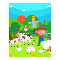 Farmer and farm animals letterhead