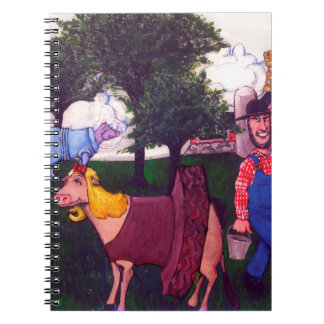 Farmer and Fun-loving Cows Spiral Note Books