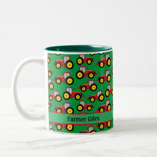 Farmer and Homesteader Mini Tractors on Grass Two-Tone Coffee Mug