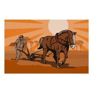 Farmer and horse plowing farm field poster