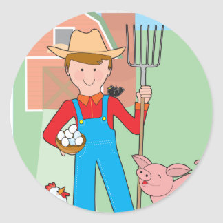 Farmer and Pig Classic Round Sticker