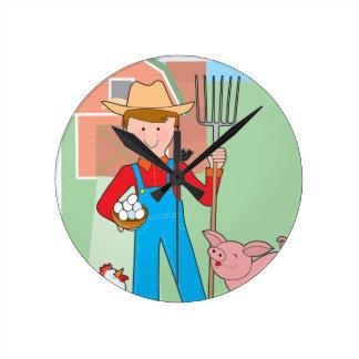 Farmer and Pig Round Wallclocks