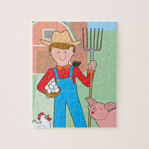 Farmer and Pig Jigsaw Puzzles