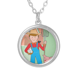 Farmer and Pig Personalized Necklace