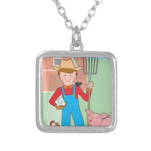 Farmer and Pig Pendant
