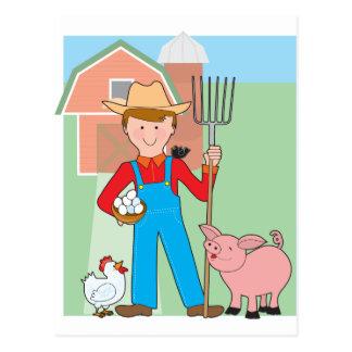 Farmer and Pig Postcard