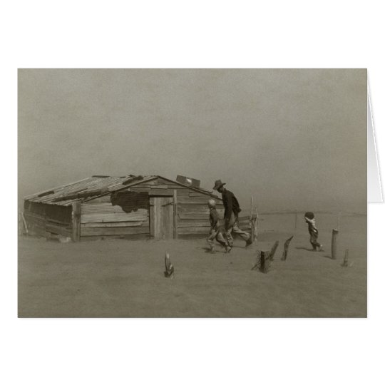 Farmer and Sons Walking in a Dust Storm Card
