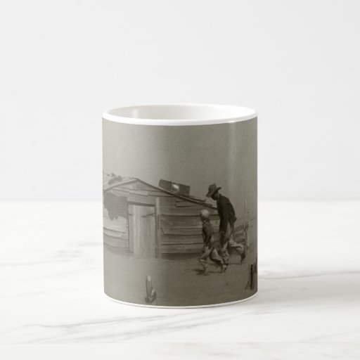 Farmer and Sons Walking in a Dust Storm Mugs
