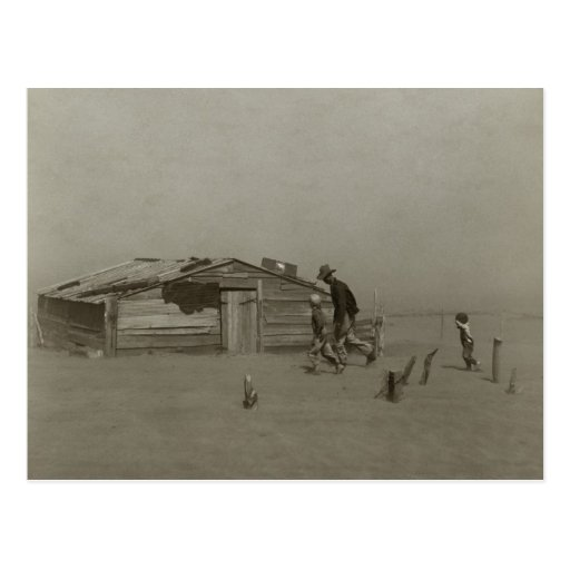 Farmer and Sons Walking in a Dust Storm Postcard