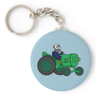 Farmer and Tractor Keychain