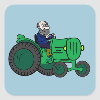 Farmer and Tractor Square Sticker