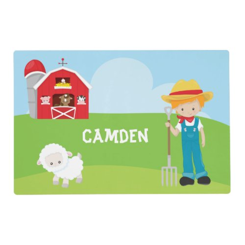 Farmer Barn Boy Kid's Personalized Placemat