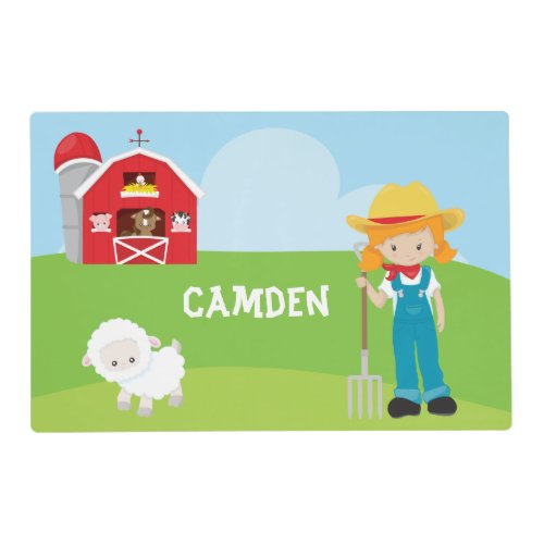 Farmer Barn Girl Kid's Personalized Placemat