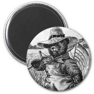 Farmer Bear Fred - Letter F - Vintage Teddy Bear Magnet