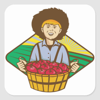Farmer Boy Straw Hat Tomato Harvest Square Sticker