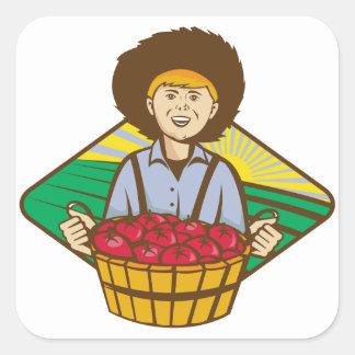Farmer Boy Straw Hat Tomato Harvest Square Sticker