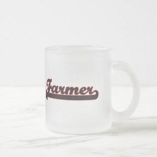 Farmer Classic Job Design 10 Oz Frosted Glass Coffee Mug