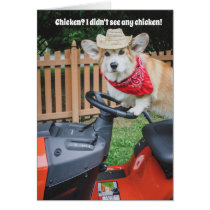 Farmer Corgi Birthday Card