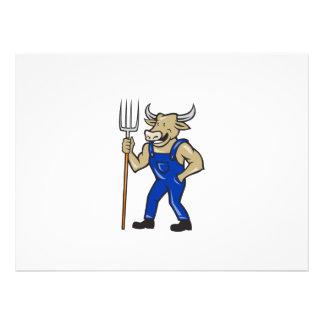 Farmer Cow Holding Pitchfork Cartoon Custom Invite