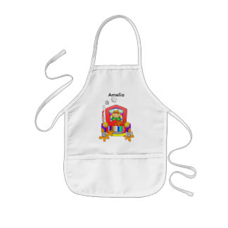 Farmer driving a red tractor kids' apron