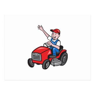 Farmer Driving Ride On Mower Tractor Postcard