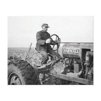 Farmer Driving Tractor, 1937 Canvas Print