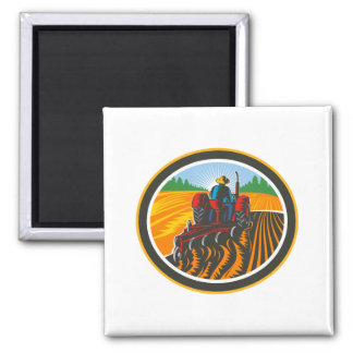 Farmer Driving Tractor Plowing Field Circle Retro Magnet