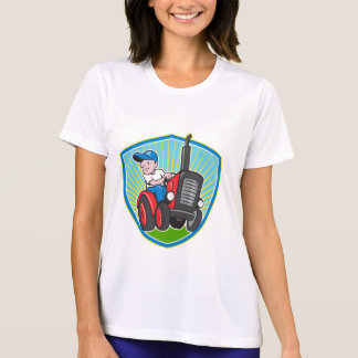 Farmer Driving Vintage Tractor Cartoon Tee Shirt