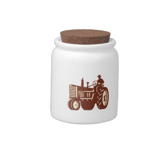 Farmer Driving Vintage Tractor Retro Candy Dishes