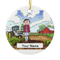 Farmer - Female, White Tractor Ceramic Ornament