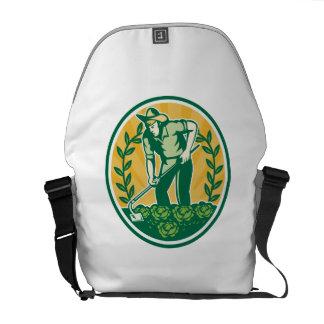 Farmer Gardener With Garden Hoe Cabbage Courier Bag