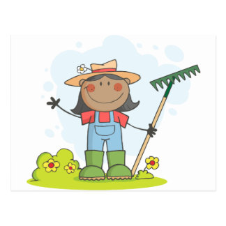 Farmer girl with a rake in grass with flowers postcard