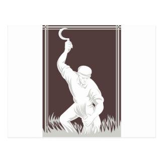 farmer harvesting wheat with scythe retro postcard