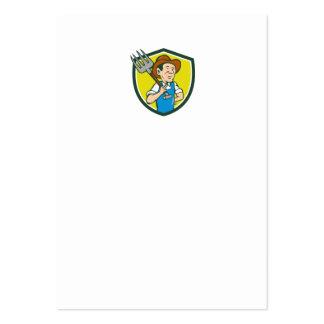 Farmer Holding Pitchfork Shoulder Crest Cartoon Large Business Card